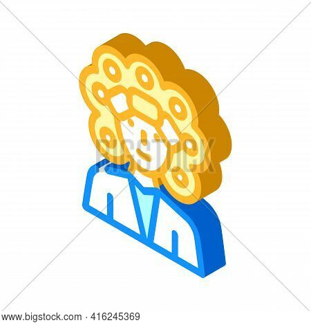 Perm Hair Isometric Icon Vector. Perm Hair Sign. Isolated Symbol Illustration