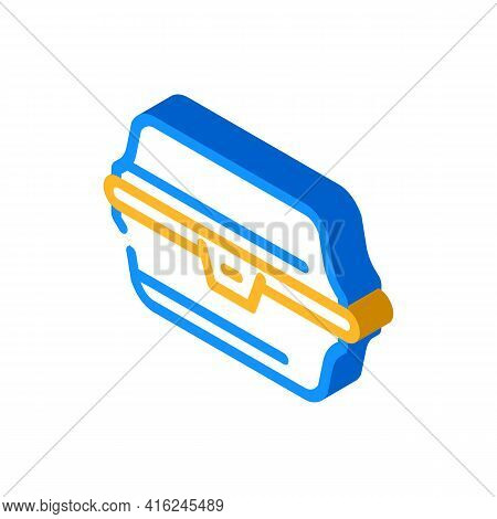 Paper Lunchbox Isometric Icon Vector. Paper Lunchbox Sign. Isolated Symbol Illustration
