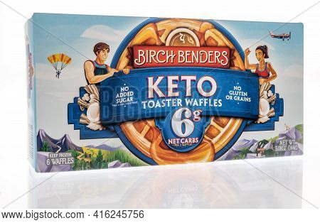 Winneconne, Wi - 7 April 2021:  A Package Of Birch Benders Keto Toaster Waffles On An Isolated Backg