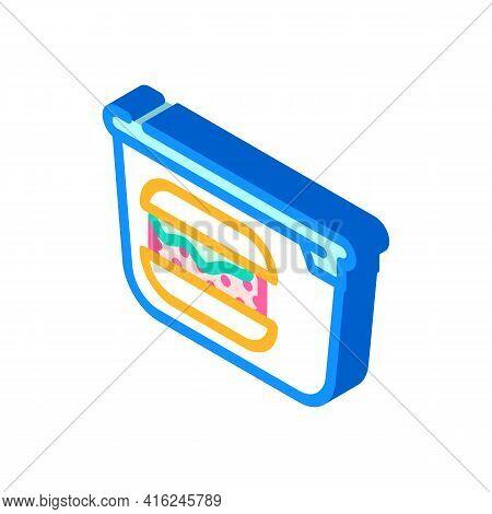 Hamburger Lunchbox Isometric Icon Vector. Hamburger Lunchbox Sign. Isolated Symbol Illustration