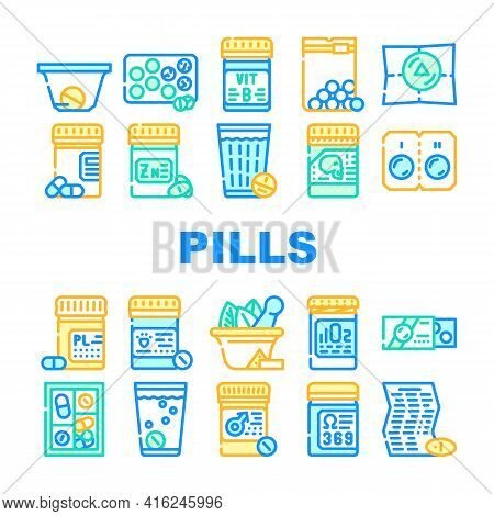 Pills Medicaments Collection Icons Set Vector. Pills Package And Glass With Water, Instruction And P