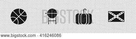 Set Basketball Ball, Barbecue Grill, Pumpkin And Flag Confederate Icon. Vector