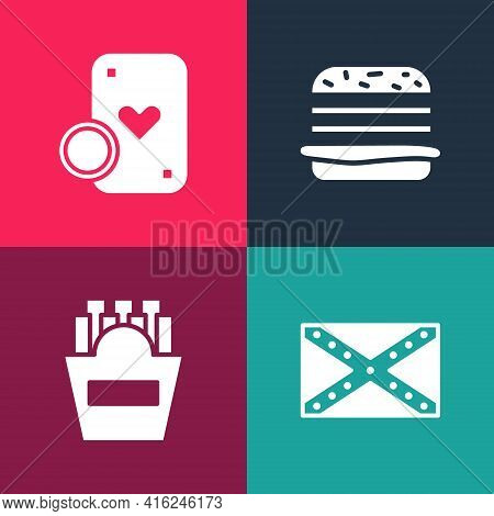 Set Pop Art Flag Confederate, Potatoes French Fries In Box, Burger And Casino Chip And Playing Cards