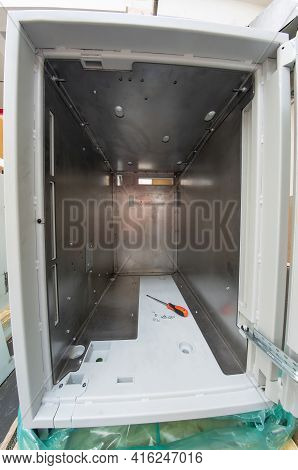Atm Safe Reinforced From The Inside With Steel Anti-burglary Plates. Improving The Reliability Of Th
