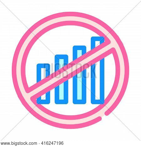 Disconnection Of Mobile Communication Protest Meeting Color Icon Vector. Disconnection Of Mobile Com