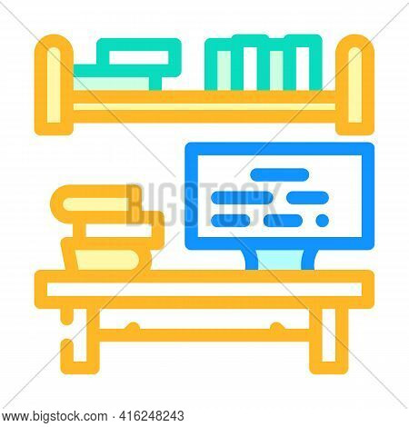 Place To Study Color Icon Vector. Place To Study Sign. Isolated Symbol Illustration