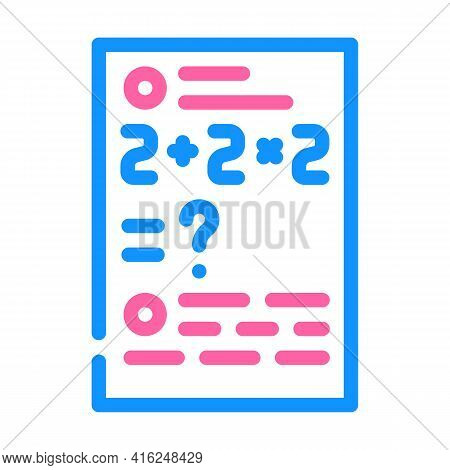 Math Problems Color Icon Vector. Math Problems Sign. Isolated Symbol Illustration