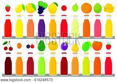 Illustration On Theme Big Kit Glass Bottles With Caps Filled Liquid Multicolored Fruit Juice. Glass