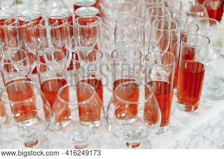 Serving Glasses For The Festive Table. Glasses For Spirits, Champagne And Juice. Set The Table. Glas