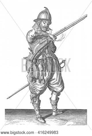 A soldier on guard, full-length, after right, holding a rudder (a particular type of firearm) with his left hand. In his left hand, in addition to the rudder, also a burning wick, vintage engraving.