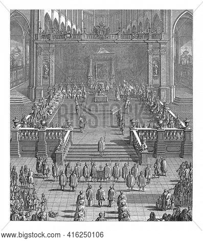 Inauguration ceremony of Emperor Charles VI as Count of Flanders in the Saint Bavo Church in Ghent on October 18, 1717, vintage engraving.