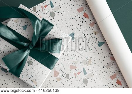 Beautiful wrapped gift box with Terrazzo paper wrap