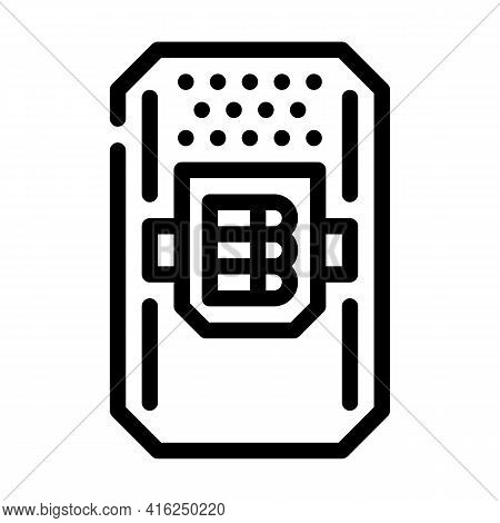 Police Shield With Cartridges Protest Meeting Line Icon Vector. Police Shield With Cartridges Protes