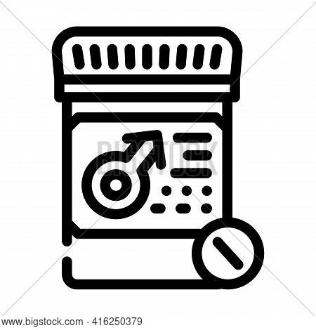 Potency Pills Line Icon Vector. Potency Pills Sign. Isolated Contour Symbol Black Illustration