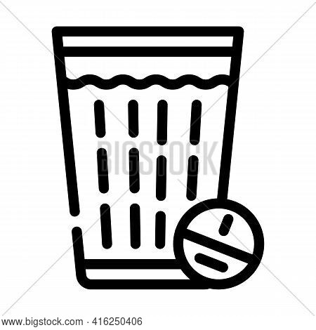 Glass Off Water With Tablet Line Icon Vector. Glass Off Water With Tablet Sign. Isolated Contour Sym