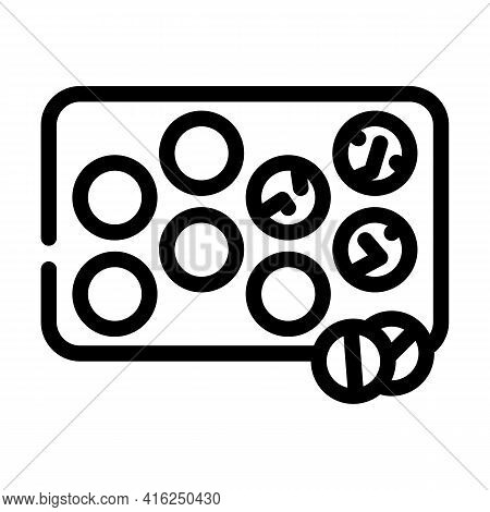 Glister With Pills Line Icon Vector. Glister With Pills Sign. Isolated Contour Symbol Black Illustra