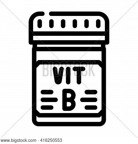 Vitamin B Package Line Icon Vector. Vitamin B Package Sign. Isolated Contour Symbol Black Illustrati