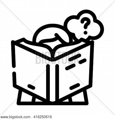 Reading Self Study Line Icon Vector. Reading Self Study Sign. Isolated Contour Symbol Black Illustra