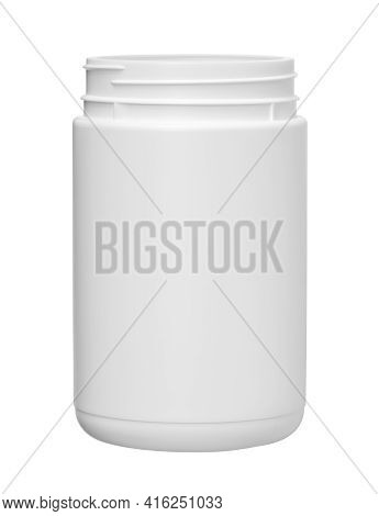 Plastic Jar Cylinder Shape Opened (with Clipping Path) Isolated On White Background