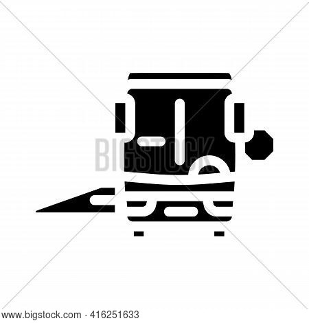 Bus With Ramp Glyph Icon Vector. Bus With Ramp Sign. Isolated Contour Symbol Black Illustration