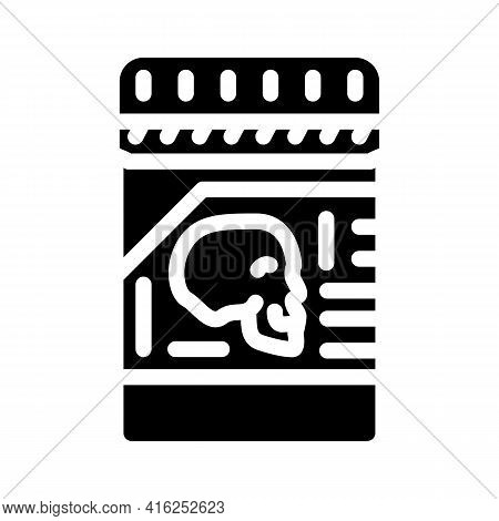 Poison Package Glyph Icon Vector. Poison Package Sign. Isolated Contour Symbol Black Illustration