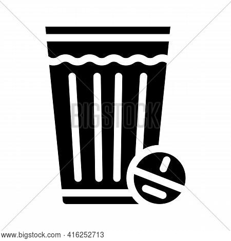 Glass Off Water With Tablet Glyph Icon Vector. Glass Off Water With Tablet Sign. Isolated Contour Sy