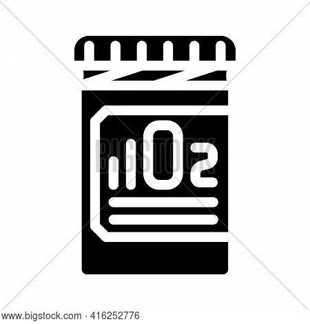 Oxygen Pills For Restoration And Acceleration Metabolism Glyph Icon Vector. Oxygen Pills For Restora