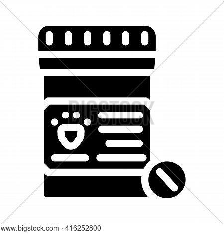 Animal Pills Glyph Icon Vector. Animal Pills Sign. Isolated Contour Symbol Black Illustration