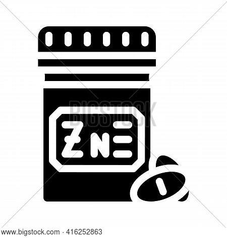 Zinc Pills Trace Elements Glyph Icon Vector. Zinc Pills Trace Elements Sign. Isolated Contour Symbol
