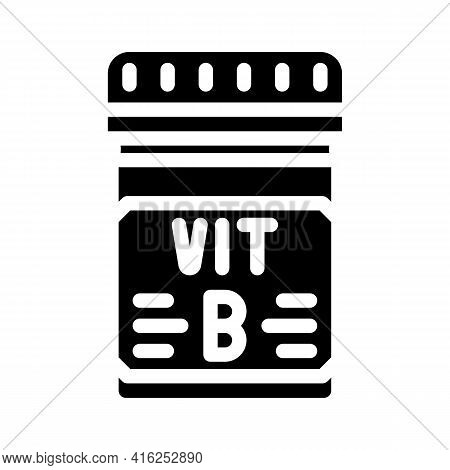 Vitamin B Package Glyph Icon Vector. Vitamin B Package Sign. Isolated Contour Symbol Black Illustrat