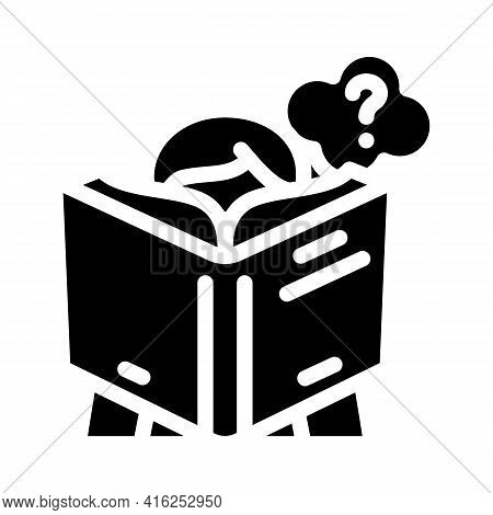 Reading Self Study Glyph Icon Vector. Reading Self Study Sign. Isolated Contour Symbol Black Illustr