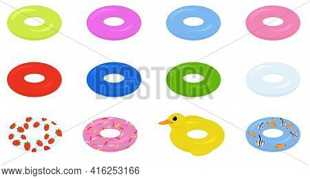 Swim Rings Set. Inflatable Rubber Toy. Swimming Circles With Different Colors. Flat Vector Illustrat