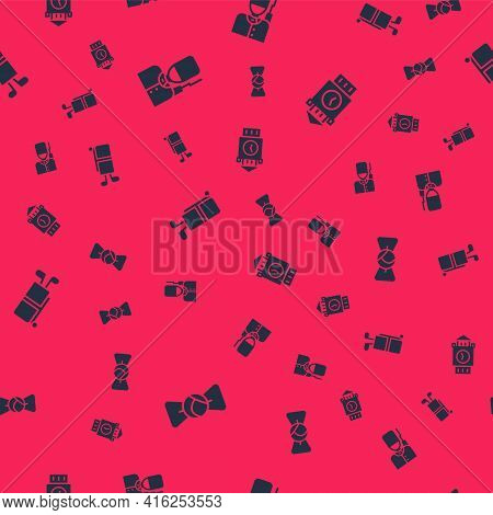 Set Bow Tie, British Soldier, Golf Bag With Clubs And Big Ben Tower On Seamless Pattern. Vector
