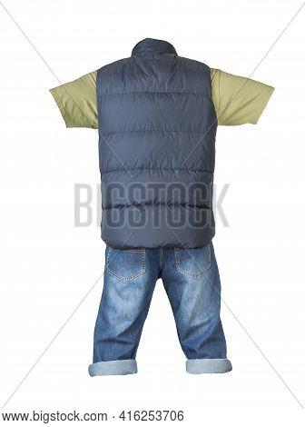Denim Dark Blue Shorts,olve T-shirt  And Dark Blue Jacket Without Sleeves Isolated On White Backgrou