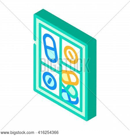 Pillbox Container Isometric Icon Vector. Pillbox Container Sign. Isolated Symbol Illustration