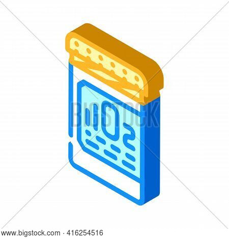 Oxygen Pills For Restoration And Acceleration Metabolism Isometric Icon Vector. Oxygen Pills For Res