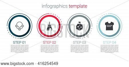 Set Russian Bagels, The Tsar Bell, Moon With Flag And Ussr T-shirt. Business Infographic Template. V