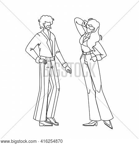 Fashion 1970 Year Disco Style Young People Black Line Pencil Drawing Vector. Man And Woman Wearing F