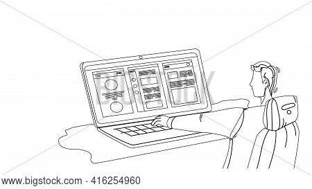 Application Development Programmer Work Black Line Pencil Drawing Vector. Young Man Working On Lapto