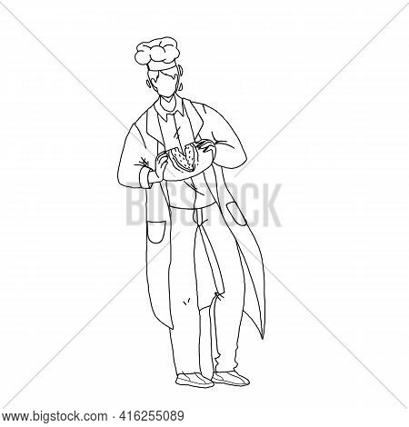 Baked Bread Breaking Bakehouse Worker Chef Black Line Pencil Drawing Vector. Fresh Bread Nutrition H