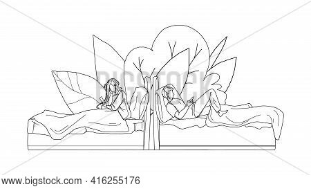People Lying In Bed And Use Mobile Phone Black Line Pencil Drawing Vector. Young Man And Woman In Be