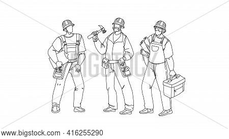 Builders With Building Equipment And Plan Black Line Pencil Drawing Vector. Builders Men Wearing Uni