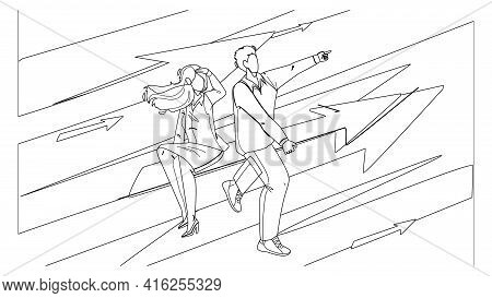 Businesswoman And Businessman Couple Aim Black Line Pencil Drawing Vector. Man And Woman Businesspeo