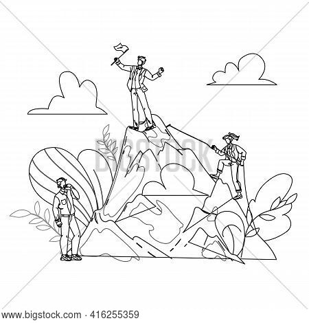 Career Growth From Clerk To Leader Chief Black Line Pencil Drawing Vector. Worker Manager, Climbing