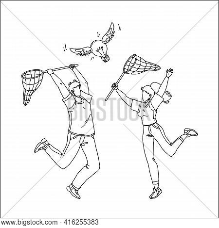 Catching Idea With Net Man And Woman People Black Line Pencil Drawing Vector. Boy And Girl Catch Ide