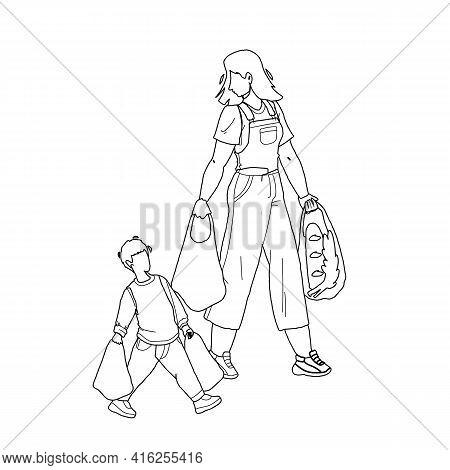 Children Etiquette Help To Adult Carry Bags Black Line Pencil Drawing Vector. Children Etiquette And