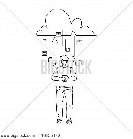 Cloud Storage Service For Save Information Black Line Pencil Drawing Vector. Cloud Storage Mobile Te