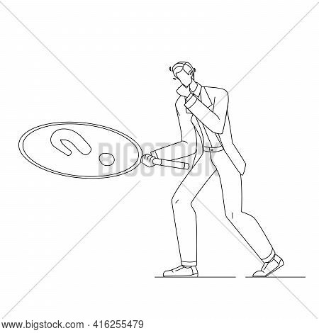 Businessman With Magnifier Looking Clue Black Line Pencil Drawing Vector. Young Man With Magnifying