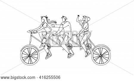 Collective Boy And Girls Riding Tandem Black Line Pencil Drawing Vector. Collective Black Line Penci