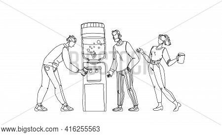 People Drinking Fresh Water From Cooler Black Line Pencil Drawing Vector. Office Colleagues Filling